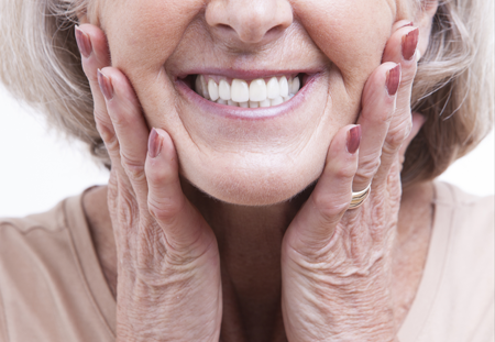 Dentures on a woman